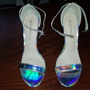 Wild Diva Hologram Open toe Pumps